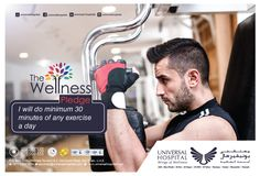 #WellnessPledge  DAY 2:  Research shows that as little as 30 minutes of exercise per day can boost our general health and well-being.   To Book an Appointment - Call 800 555 555.  #wellnesspledge #UH #UniversalHospital #WOW #Wingsofwellness #Health #healthy #Doctors #Wellness #Abudhabi #Auh #Dubai #DXB #worldhearday #universalmarketing  Website – www.universalhospitals.com Facebook - https://www.facebook.com/Universalhospitals/ Instagram - https://www.instagram.com/universalhospitals/