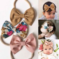 Basically Brownie Set: bows} linen baby bow set - camel linen, rosa natural rifle paper co, blush Diy Headband, Baby Girl Headbands, Baby Bows, Headband Pattern, Baby Turban, Diy Baby Gifts, Baby Accessories, Wedding Accessories, Free Baby Stuff