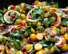 Where Ottolenghi meets Bush Gourmet: Tomato, Chargrilled Courgette & Roasted Lemon Salad with Muchingachinga Dressing. A new SavannaBel post ...