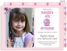 Purple Cupcake Photo Invitations