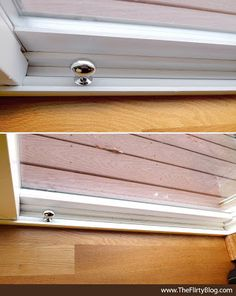 Designer, DIY, Sliding Door Security Idea. paint the stick white to match the door frame, drill a hole straight through the dowel and add a cabinet knob or handle in place of the screw.