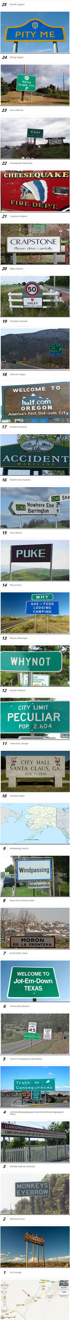 Here are some funny and strange city names you will not believe actually exist.