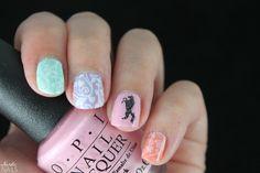 Unicorn pastel nail art inspired by the amazing @ladyandthe_stamp. OPI - Suzi Shops & Island Hops / KIKO - Light Peach (359) / KIKO - Lilac (330) / Picture Polish - Tiffany / KBShimmer - Dust In The Bottle / Born Pretty Store - BP-56 / Born Pretty Store - BP-L021 / Konad - Black / Konad - White.
