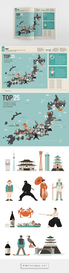Japan - Editorial illustrations on Behance... - a grouped images picture - Pin Them All