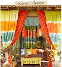 """Outdoor curtains & fabrics - for our """"meditation station""""     i need a """"meditation station"""" ....... now lol"""