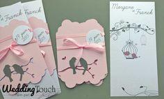 Faire part mariage romantique, cage oiseaux, rose pastel et papier nacré, irisé ©weddingtouch