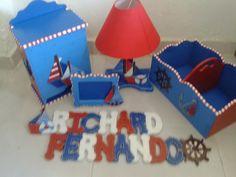Decoración Naval- Pañalera, Canatilla, Lámpara, Portarretrato y Nombre Richard Fernando.
