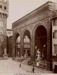 Loggia dei Lanzi, Florence by Giacomo Brogi. the Piazza Signoria in front of the Palazzo Vecchio
