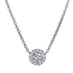 18KT White Gold Diamond Halo necklace (1/2 ct TW) from Brilliant Earth