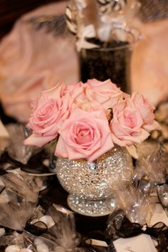 glitter vase- I think this really gives a feeling of old time glam - especially with the roses! Val's bridal shower