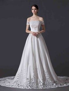 Off >A-Line Hollow Out Off-the-shoulder Appliques Cathedral Train Wedding Dress Wedding Dresses From China, White Wedding Dresses, Cheap Wedding Dress, Bridal Dresses, Wedding Gowns, Weeding Dress, Wedding Dress Train, Satin Dresses, Nice Dresses