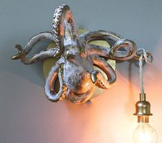 Octopus Wall Light Taxidermy Nautical Sconce Beach от mysecretlite