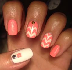 "My first #MadMen inspired mani - meant to be ""modeled"" after Megan Draper's chevron coral coat :)"