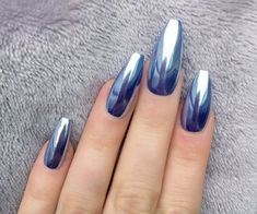 crome nail art coffin nails blue metallic