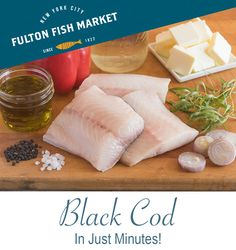 The delectable meat of Black Cod has a high fat content, so it's extremely recipe-versatile.  The Fulton Fish Market recommends baking, grilling, sautéing, poaching, broiling or steaming.  Black Cod is mellow in flavor, so we suggest a minimal amount of spices, herbs or sauces. #cooking #homechef #blackcod Black Cod, Home Chef, Fulton, Sauces, Grilling, Minimal, Fat, Herbs, Content