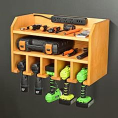 Power Tool Organizer, Sunix Power Tool Charging Station Drill Wall Holder Wall Mount Tools Garage Storage (Power Strip is Not Included) – Power Tools On Sale Tool Wall Storage, Power Tool Storage, Garage Storage, Diy Storage, Storage Ideas, Lumber Storage, Storage Racks, Ryobi Power Tools, Woodworking Power Tools
