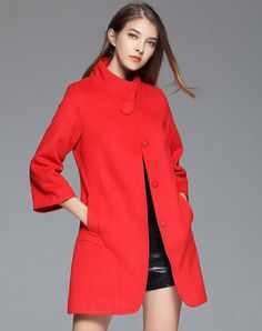 Check the details and price of this Red High Neck A Line Wool Coat (Red, BIEMEI) and buy it online. VIPme.com offers high-quality Coats at affordable price.
