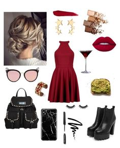 """""""Red & rock"""" by emese-knolmar on Polyvore featuring Prada, Boohoo, Nasty Gal, Stephane + Christian, Recover, Belk Silverworks, Morphe, Maybelline and Bobbi Brown Cosmetics"""