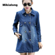 >> Click to Buy << Mikialong S-4XL Oversized Denim Jacket Women Vintage Double Breasted Jeans Jacket Women Coat Formal Women Denim Long Jacket #Affiliate