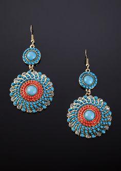 LESLIE DANZIS Beaded Swirl Medallion Earrings