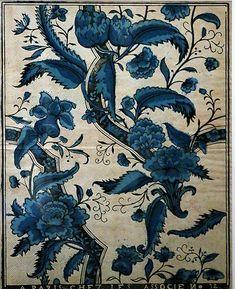 motif floral : papier dominoté, 18e siècle, bleu