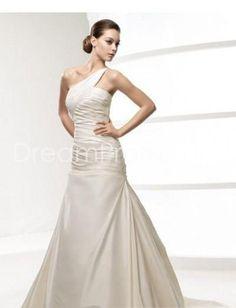 [$198.69] Gorgeous A-Line One-shoulder Sleeveless Beading Taffeta Floor-length Court Train Wedding Dress WD-0256