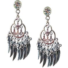 Chandelier earrings with feathers, crosses, Swarovski crystals and... ❤ liked on Polyvore featuring jewelry, earrings, silver earrings, swarovski crystal chandelier earrings, swarovski crystal earrings, feather charm and feather earrings