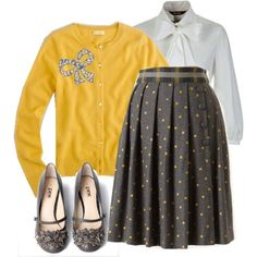 Grey and yellow Emma Pillsbury outfit! I need that skirt!!!