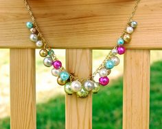 Pearl Cluster Necklace and Earrings Set - glass pearls, gold, wire wrapped. $22.00, via Etsy.