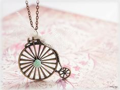 Bicycle necklace, old fashioned mint green flower lace ribbon large pendant long chain cottage chic vintage style jewelry