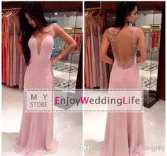Discount 2014 Sexy New Pink Sleeveless Satin Mermaid Evening Dresses Tulle Sheer Back Beaded Formal Party Women Floor Length Prom Gowns Online with $124.31/Piece | DHgate