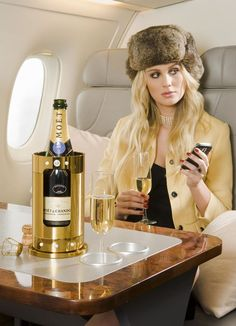 Champagne on a private jet!