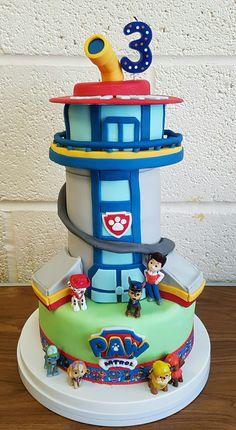 Paw Patrol Birthday Cake, Baby Birthday Cakes, Baby Boy Cakes, Paw Patrol Party, 5th Birthday, Paw Patrol Tower, Paw Patrol Lookout, Cake Disney, Torta Paw Patrol