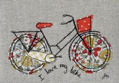 Framed freestyle machine embroidery - I love my bike orange and yellow