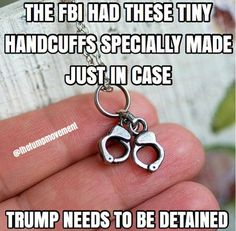 More Party Favors, from the FBI. They had these tiny handcuffs specially made just in case Trump needs to be detained. Dumb And Dumber, I Laughed, Just In Case, At Least, Jokes, Lol, Tiny Trump, Funny Shit, Hilarious