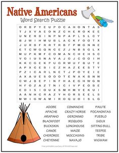 Native Americans Word Search Puzzle | Print it Free