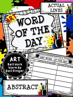 Art vocabulary/ Art Bell Work or Warm Up Activity. Just print and go! Use it as an art vocab word wall or to decorate a bulletin board!
