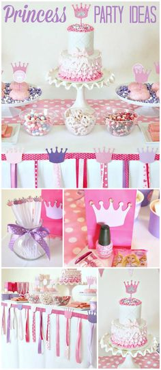 Here's a pretty pink and purple princess party done on a budget! See more party ideas at CatchMyParty.com!