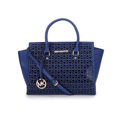 Michael Kors Selma Perforated Medium Blue Satchels