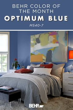 Shake up the interior design of your home with a brand new wall color. The Behr paint Color of the Month, Optimum Blue, is the perfect place to start. This bold hue is easy to pair with a variety of accent colors, making it versatile enough to pair with a variety of home decor styles. Click below to get inspired.