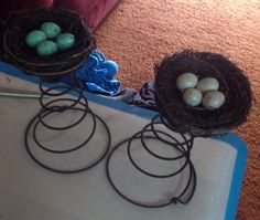 Bed springs and bird nests. Great topper