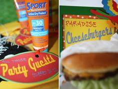 Cheeseburger in Paradise Party --fun ideas to play off - root beer, etc. would be so fun.