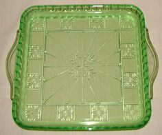 "Green Depression Glass ""Doric"" ~ 10"" handled tray. (The ""Doric & Pansy"" pattern has Pansies in the blank squares).  Jeannette Glass Co., 1935-38."