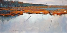 """David Lidbetter, wetland, Oil on canvas, 10"""" x 20""""  www.musegallery.ca"""
