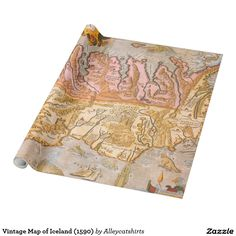 Vintage Map of Iceland (1590) Wrapping Paper