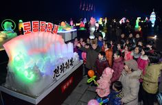There opened in Kim Il Sung Square on December 31 2016 the Pyongyang Ice Sculpture in celebration of the New Year. On display in the festival venue are scores of ice sculptures made by the Ice Sculptures, Festival 2017