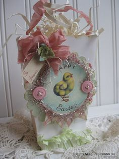 shabby easter BAG- bag with ribbon HANDLES -easter gift bag- baby chic happy easter treat bag