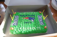 NE Patriots cake - Chocolate cake with butter cream icing and decorations. Done for a friends son. Football Birthday Cake, Boy Birthday Parties, 7th Birthday, Birthday Cakes, Race Car Cakes, Cupcake Cookies, Cupcakes, Patriots Cake, Themed Cakes