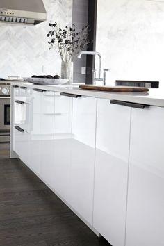 Floor and cabinet colors. Herringbone tile backsplash. Rocky Mountain Hardware - Catch Pull CK212