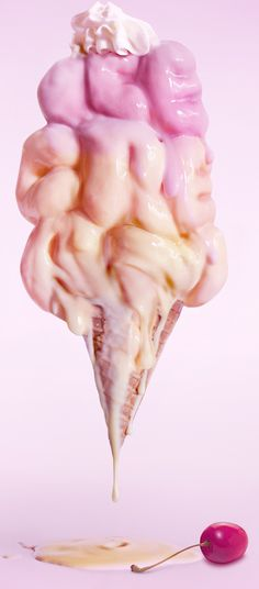 Delicious Food Typography Handmade With Real Ice Cream, Bubblegum, Cotton Candy - DesignTAXI.com